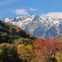 *秋の景色/雪化粧をした谷川岳と紅葉のコラボレーション
