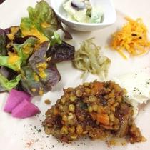 *夕食一例/地元の野菜をたっぷり使って夫婦で1品1品手作りしています。