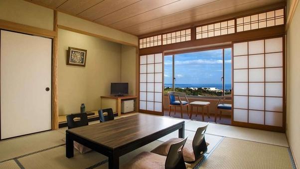 【海側眺望】和室 (45平米/本間10畳+踏込+縁側)