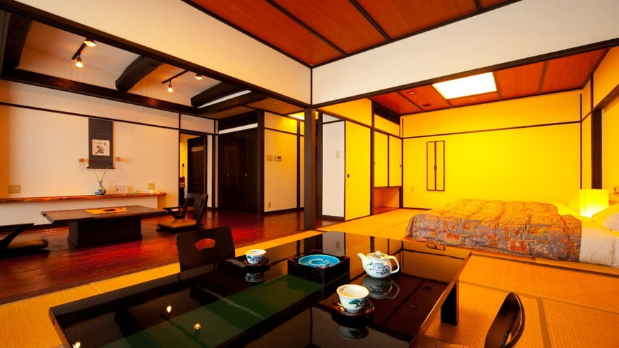 檜風呂付和洋室「ききょう」/約20㎡のリビングと和室が2間