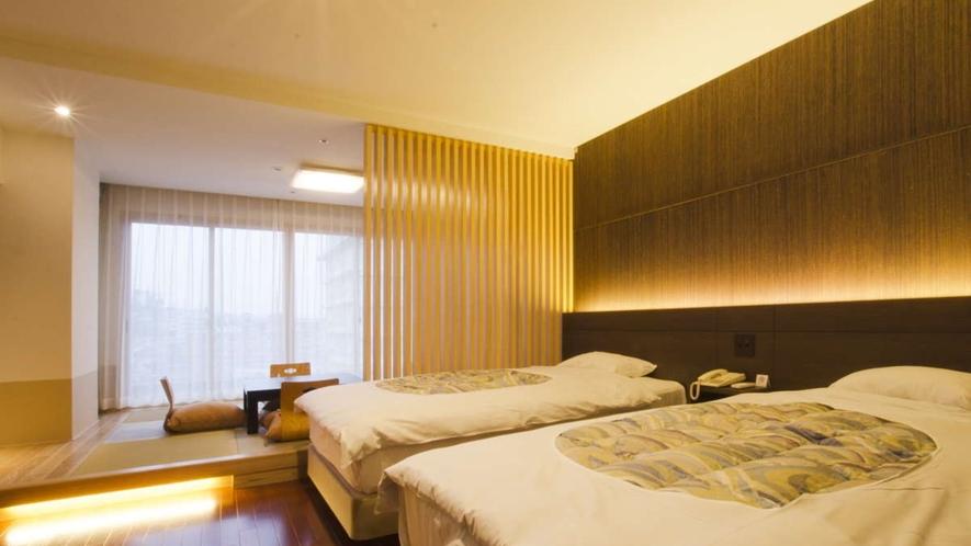スーペリア和洋室/シモンズ社製セミダブルベッドを2台ご用意