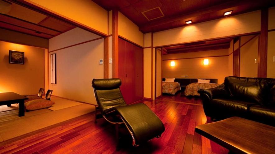 檜風呂付和洋室「かえで」/リビングルーム付きのお部屋です