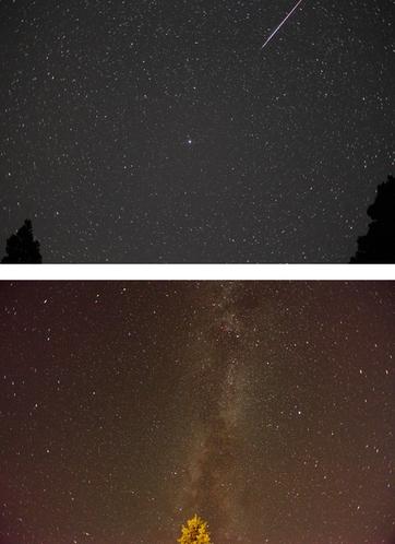 玄関から見られるペルセウス流星群と天の川7月〜9月
