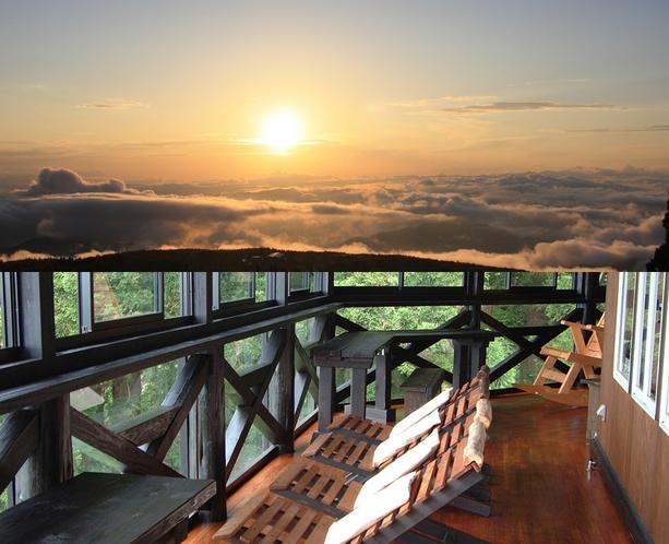 雲海と夕陽の眺望テラス