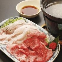 【料理一例】飛騨牛&飛騨豚(ケントン)のしゃぶしゃぶ