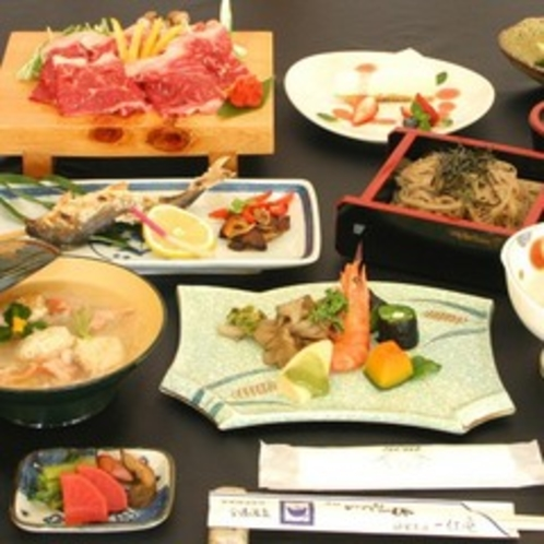 料理一例:夕食(飛騨牛しゃぶしゃぶ)