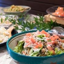 【期間限定バイキング一例】村のおばさんが作るお惣菜バイキング(約15種類)です!