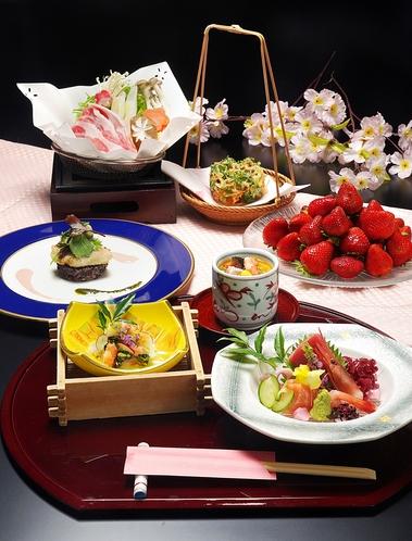 春の会席料理(いちご食べ放題)