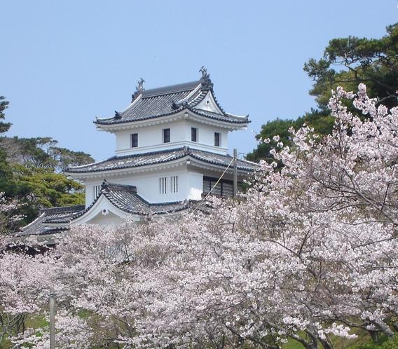 桜と平戸城