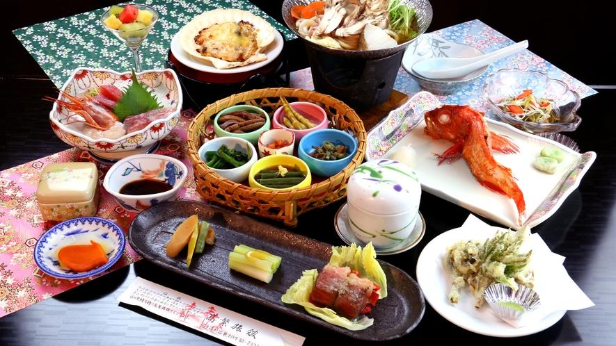 【グレードアップ】岩手名物『キンキ』の姿焼きが付いた贅沢なコース。旬の天ぷらもこのコースの特権です