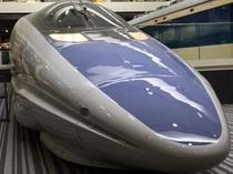 【京都鉄道博物館】お子さまに一番人気の500系がお出迎えしてくれます。