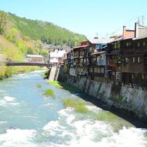 *[崖家造りの家並み]木曽川沿いのわずかな土地を利用し身を寄せ合うように建てられた木造建築群