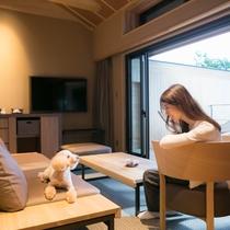 ≪温泉露天風呂付ドッグフレンドリーヴィラTypeB≫ワンちゃんとご宿泊可能なお部屋です