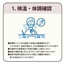 1、「検温・体調確認」 来館時、すべてのお客様へ検温と体調確認をさせていただきます