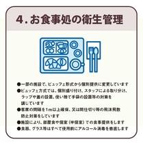 4、「お食事の衛生管理」 客席の間隔を1m以上確保、間仕切り等の飛沫飛散防止対策