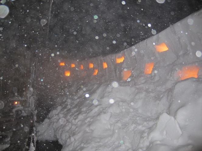 【露天石うすの湯】今の時期は雪あかりの露天風呂になります