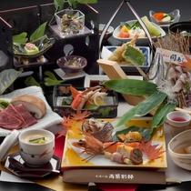 【料理/夕食】大分県自慢のブランド食材、豊後牛と関アジが楽しめる豪華会席♪