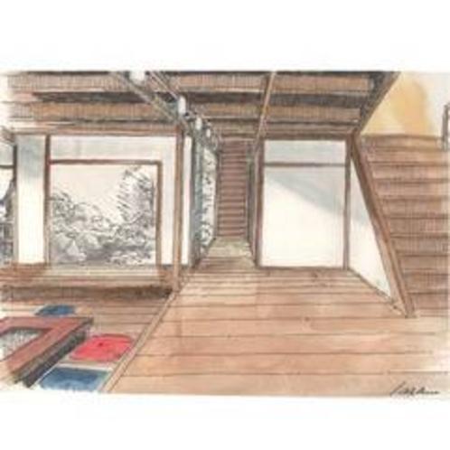 【エントランス】伝統建築を生かしながらモダン要素を融合した空間。10人以上で座れる大囲炉裏があります