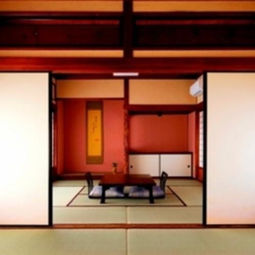 七番(梅)【8帖+8帖+広縁】梅をモチーフにしたステンドグラスを配したお部屋です。