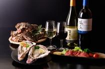 牡蠣とサントリー国産ワイン