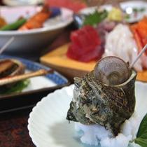 サザエと魚介類