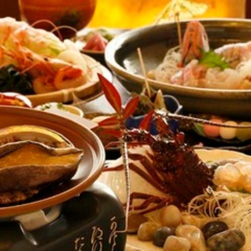 【料理】夕食一例(伊勢えび・アワビ)
