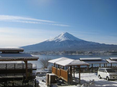 コテージ戸沢センターから眺めた冬の富士山