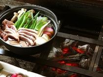 こだわり炭火を囲んで鴨鍋