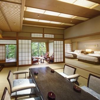 ◆露天風呂・ベッド付和室◆向月亭