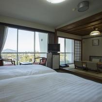 【ハイフロア】和洋室 ★ 広さ33平米。洋室ツインルーム+和室4.5畳。4名利用時は和室にもお布団を