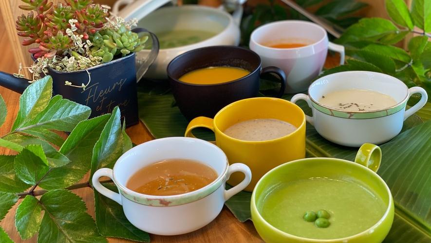 【朝食】月替わりスープ  指宿・南九州の旬の材料にこだわり、食べる人の『心(満足)と体(健康)』を満