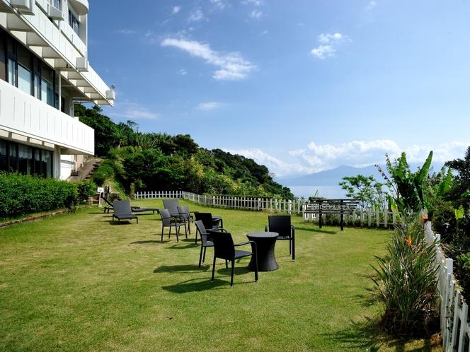 【前庭】 青い空はきれいですね。良い天気があると嬉しいですよね。