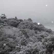 雪の中村城