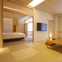 【特別和洋室 紫雲】最上階、上質な畳の和室でゆったりお過ごしいただけます。