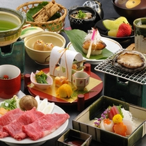 【抹茶和牛しゃぶしゃぶ+アワビ踊焼き】