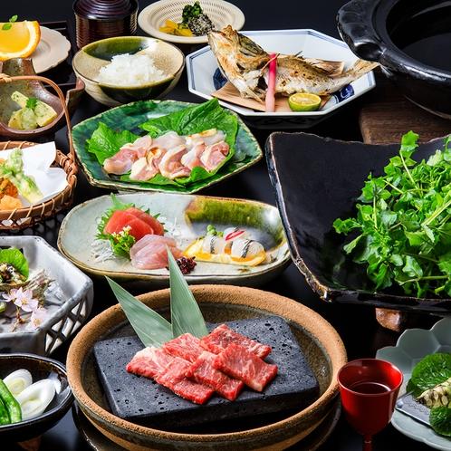 「白壁会席」天城の食材だけの炭火土鍋で作るわさび鍋~クレソン、赤水など季節の地野菜も~