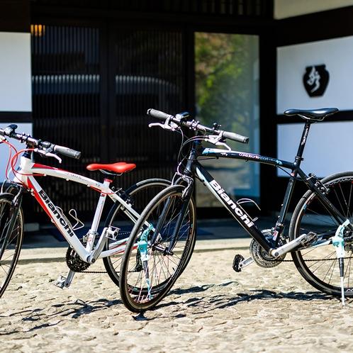 貸出自転車サイクリスト応援!当館では自転車の客室入れ、専用スタンド貸し出し有り!