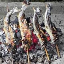 *【岩魚の塩焼き】自家製の炭火でじっくりと焼き上げる人気の塩焼き。一年を通してご提供しております。