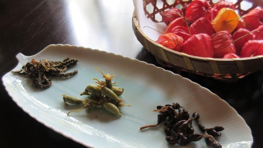 *【山菜料理(一例)】マタタビなど、普段はあまり食べたことの無い山菜も献立に並びます。