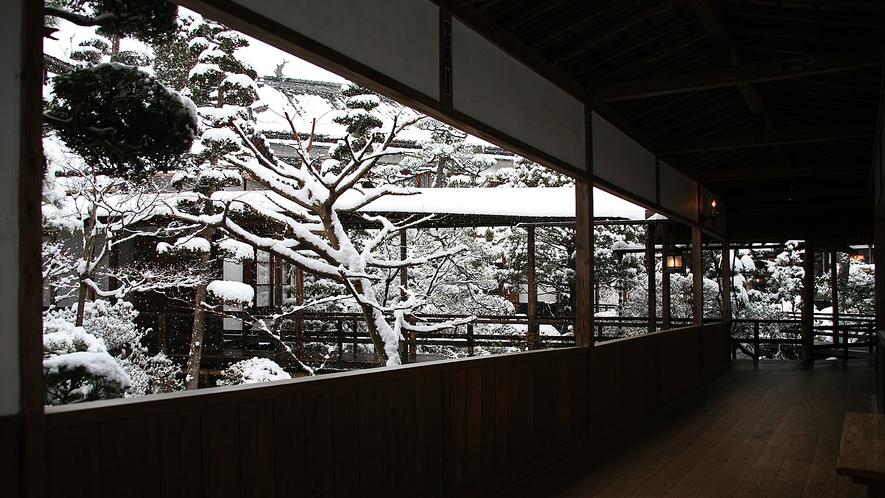 雪景色に包まれる花屋