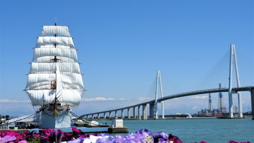 海王丸パークには帆船 海王丸が常時停泊しており、船内見学が可能です