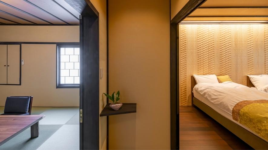 2F和洋室<雅-miyabi>和室8畳+ベッドルーム+トイレ・洗面が付いたゆったりとした間取りです。