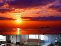 海側のお部屋から、大浴場(3〜5名)、小浴場(2〜3名)からも日本海が一望できます♪