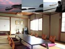 海側の和室16畳のお部屋です。7〜8名様向け。景色はお天気次第!自然は様々な表情を見せてくれます。