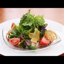 夕食_提携農家で獲れた那須野菜は絶品!自家製ドレッシングでお召し上がりを!