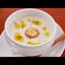 夕食_季節のスープ!旬の食材の自家製スープはお客様から高評価!