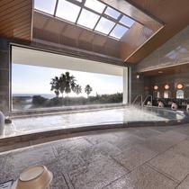 【大浴場】窓からの景色は絶品!オーシャンビューをお楽しみください♪