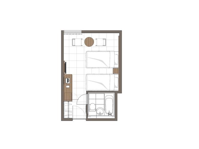 ◆低層階18平米ツイン(見取図)