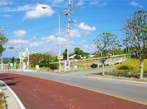 県道114号線(左手は美ら海水族館)