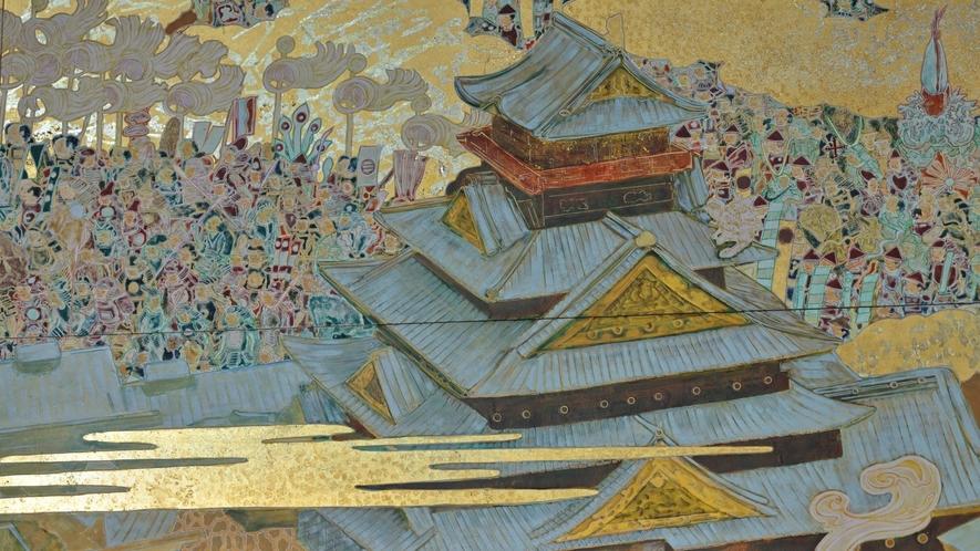 大阪城と周りに描かれた、大坂冬の陣・夏の陣。